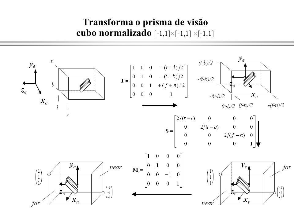 Transforma o prisma de visão cubo normalizado [-1,1]×[-1,1] ×[-1,1]